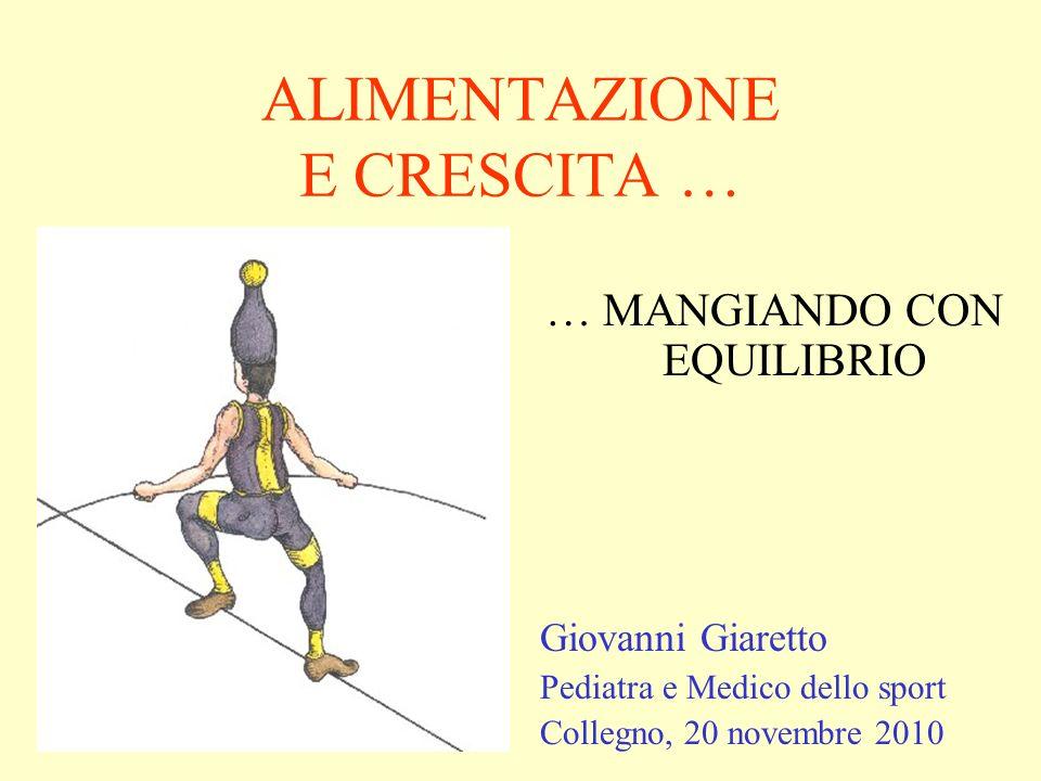 ALIMENTAZIONE E CRESCITA … … MANGIANDO CON EQUILIBRIO Giovanni Giaretto Pediatra e Medico dello sport Collegno, 20 novembre 2010