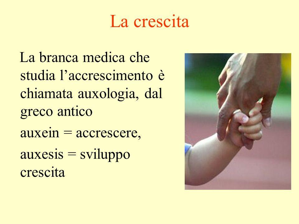 La crescita La branca medica che studia laccrescimento è chiamata auxologia, dal greco antico auxein = accrescere, auxesis = sviluppo crescita