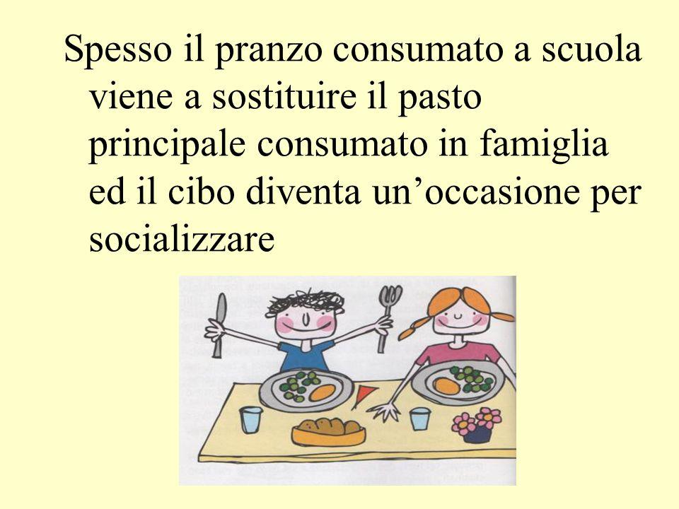 Spesso il pranzo consumato a scuola viene a sostituire il pasto principale consumato in famiglia ed il cibo diventa unoccasione per socializzare