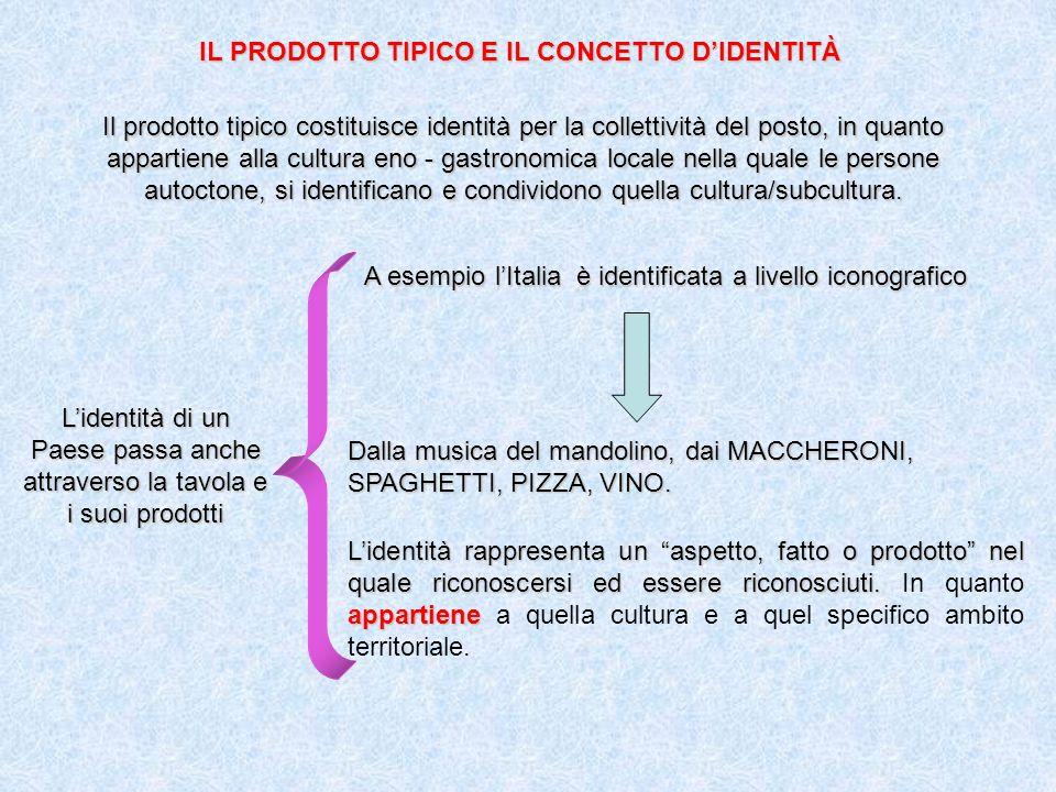 IL PRODOTTO TIPICO E IL CONCETTO DIDENTITÀ Il prodotto tipico costituisce identità per la collettività del posto, in quanto appartiene alla cultura eno - gastronomica locale nella quale le persone autoctone, si identificano e condividono quella cultura/subcultura.