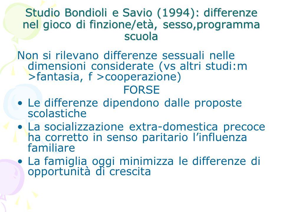 Studio Bondioli e Savio (1994): differenze nel gioco di finzione/età, sesso,programma scuola Non si rilevano differenze sessuali nelle dimensioni cons