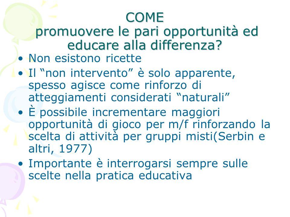 COME promuovere le pari opportunità ed educare alla differenza? Non esistono ricette Il non intervento è solo apparente, spesso agisce come rinforzo d