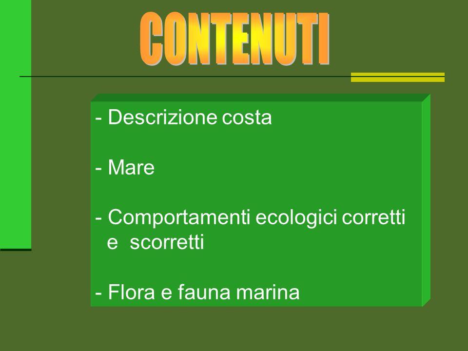 - Descrizione costa - Mare - Comportamenti ecologici corretti e scorretti - Flora e fauna marina