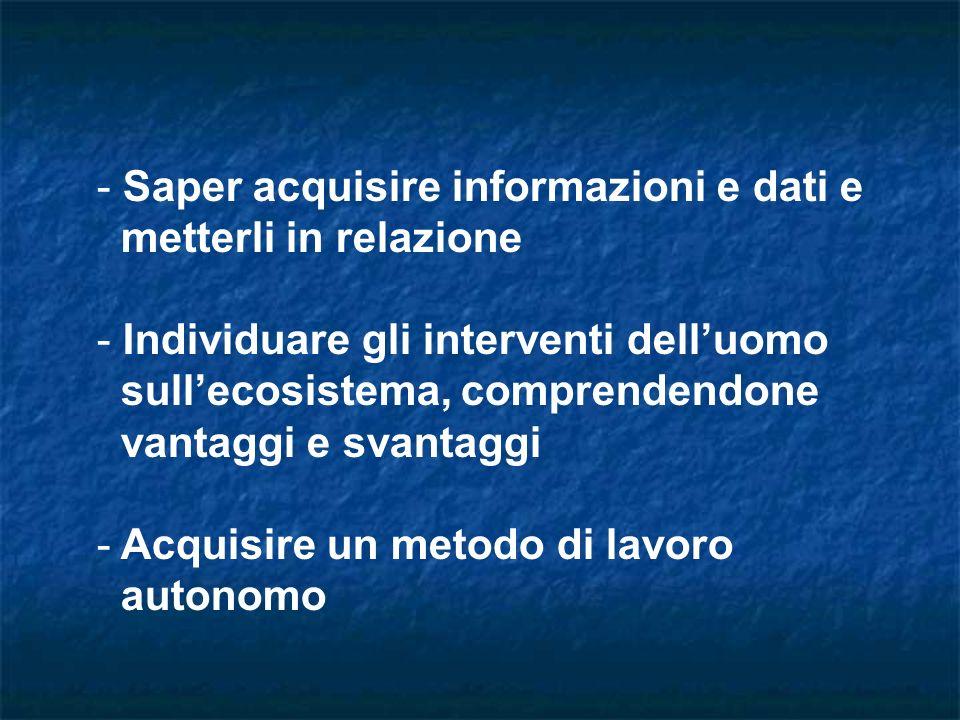 - Saper acquisire informazioni e dati e metterli in relazione - Individuare gli interventi delluomo sullecosistema, comprendendone vantaggi e svantaggi - Acquisire un metodo di lavoro autonomo