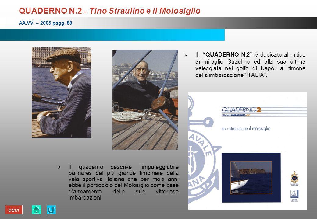 esci QUADERNO N.2 – Tino Straulino e il Molosiglio Il quaderno descrive limpareggiabile palmares del più grande timoniere della vela sportiva italiana