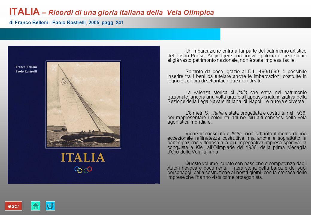 esci ITALIA – Ricordi di una gloria italiana della Vela Olimpica Un'imbarcazione entra a far parte del patrimonio artistico del nostro Paese. Aggiunge