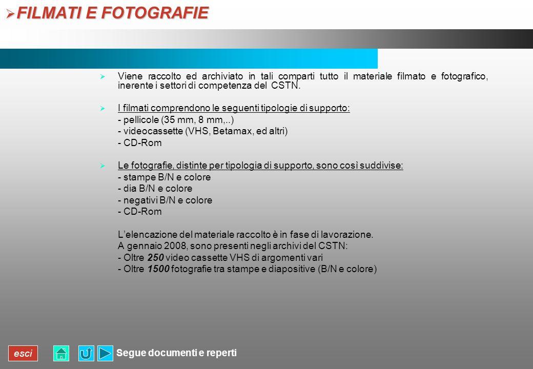 esci FILMATI E FOTOGRAFIE FILMATI E FOTOGRAFIE Viene raccolto ed archiviato in tali comparti tutto il materiale filmato e fotografico, inerente i sett