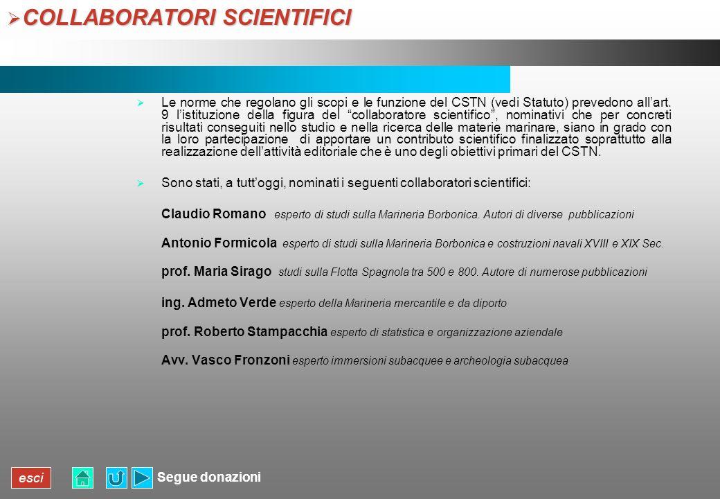 esci COLLABORATORI SCIENTIFICI COLLABORATORI SCIENTIFICI Le norme che regolano gli scopi e le funzione del CSTN (vedi Statuto) prevedono allart. 9 lis