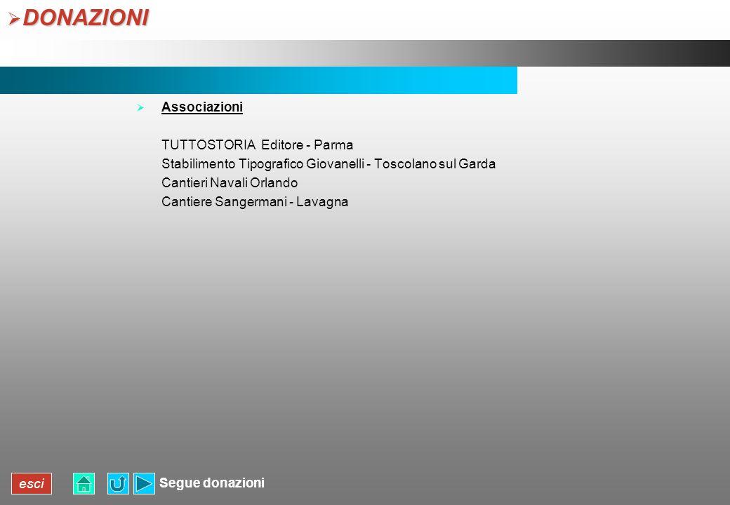 esci DONAZIONI DONAZIONI Associazioni TUTTOSTORIA Editore - Parma Stabilimento Tipografico Giovanelli - Toscolano sul Garda Cantieri Navali Orlando Ca