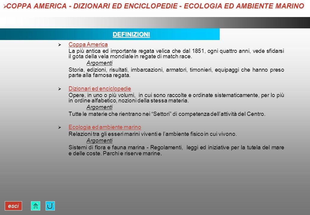 esci COPPA AMERICA - DIZIONARI ED ENCICLOPEDIE - ECOLOGIA ED AMBIENTE MARINO COPPA AMERICA - DIZIONARI ED ENCICLOPEDIE - ECOLOGIA ED AMBIENTE MARINODE