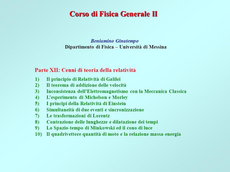 Corso di Fisica Generale II Beniamino Ginatempo Dipartimento di Fisica – Università di Messina 1)Il principio di Relatività di Galilei 2)Il teorema di