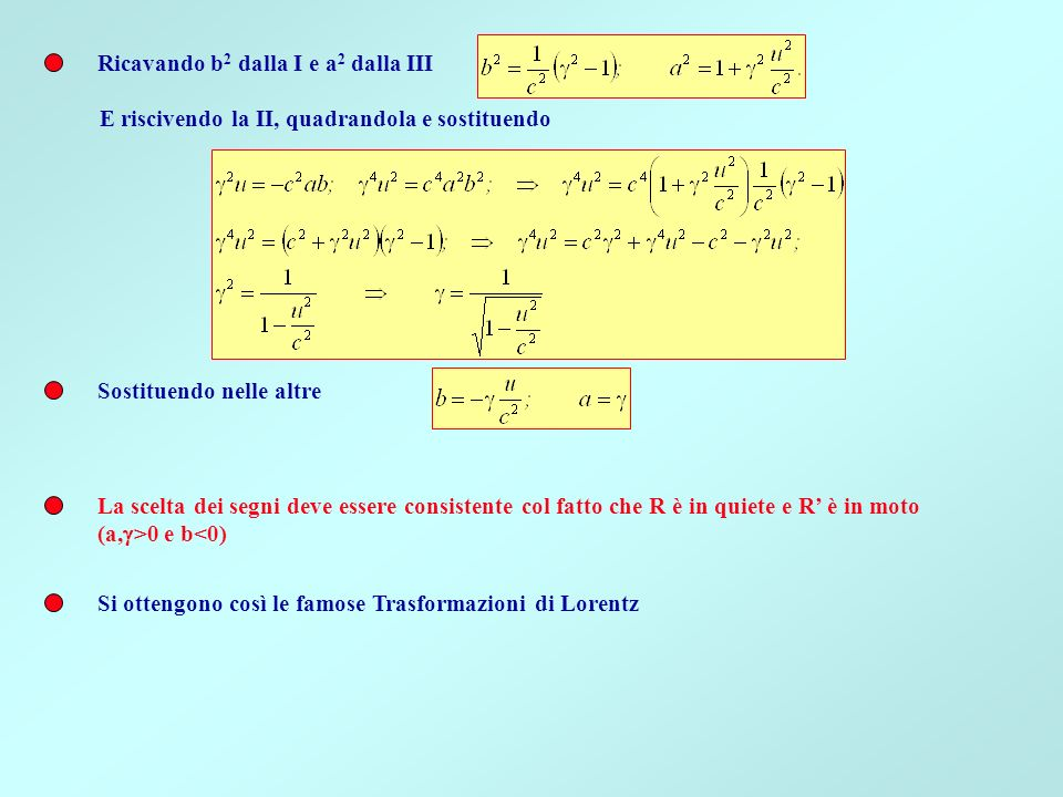 Ricavando b 2 dalla I e a 2 dalla III E riscivendo la II, quadrandola e sostituendo Sostituendo nelle altre La scelta dei segni deve essere consistent
