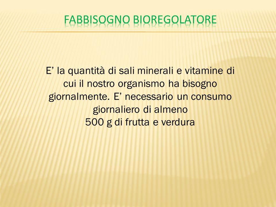 E la quantità di sali minerali e vitamine di cui il nostro organismo ha bisogno giornalmente. E necessario un consumo giornaliero di almeno 500 g di f