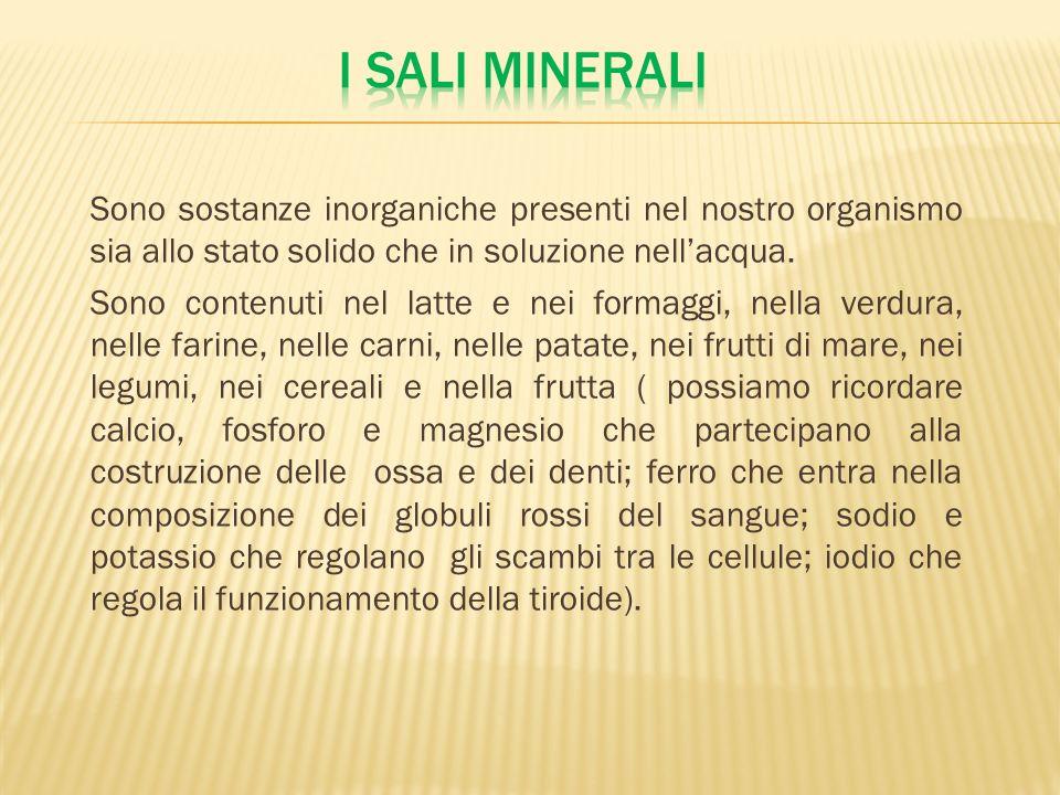 Sono sostanze inorganiche presenti nel nostro organismo sia allo stato solido che in soluzione nellacqua. Sono contenuti nel latte e nei formaggi, nel