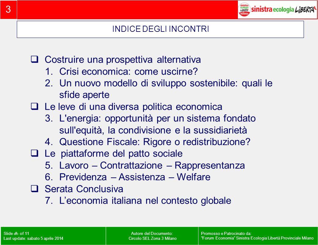 3 Slide # of 11 Last update: sabato 5 aprile 2014 Autore del Documento: Circolo SEL Zona 3 Milano Promosso e Patrocinato da: Forum Economia Sinistra Ecologia Libertà Provinciale Milano Costruire una prospettiva alternativa 1.