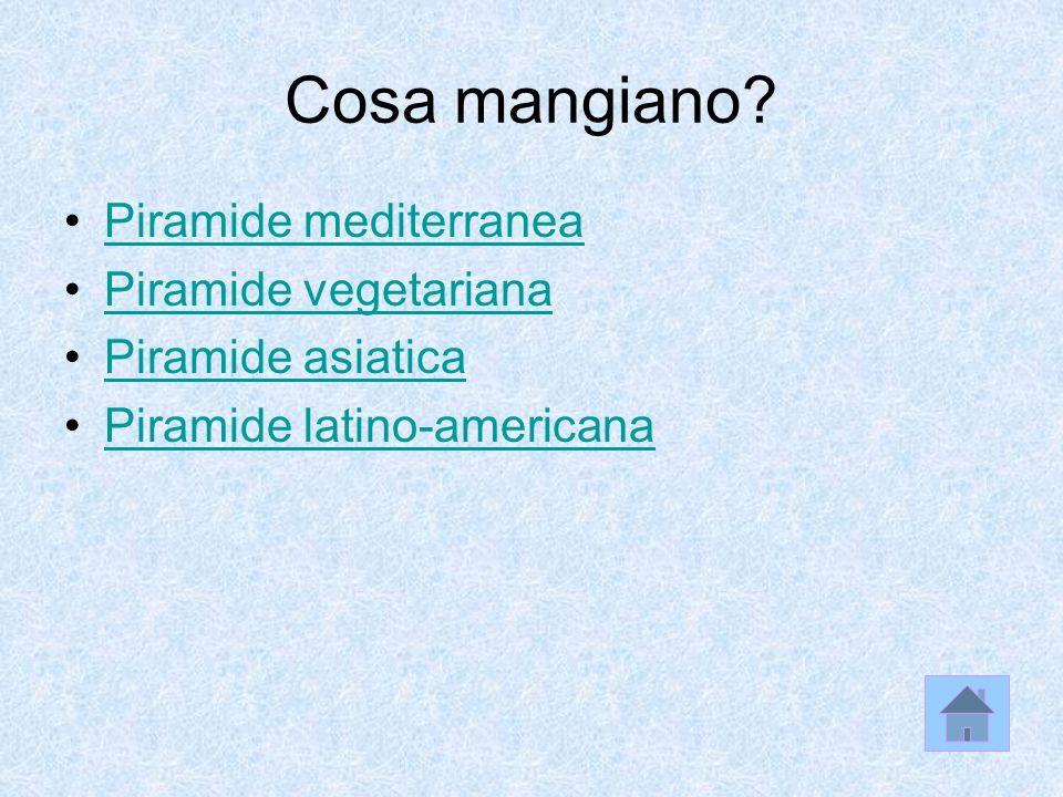 Cosa mangiano? Piramide mediterranea Piramide vegetariana Piramide asiatica Piramide latino-americana