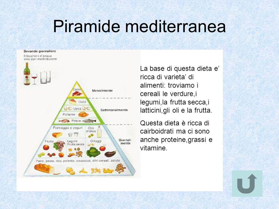 Piramide mediterranea La base di questa dieta e ricca di varieta di alimenti: troviamo i cereali le verdure,i legumi,la frutta secca,i latticini,gli o
