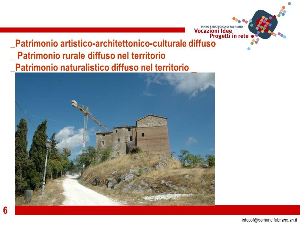 6 infopsf@comune.fabriano.an.it _Patrimonio artistico-architettonico-culturale diffuso _ Patrimonio rurale diffuso nel territorio _Patrimonio naturalistico diffuso nel territorio