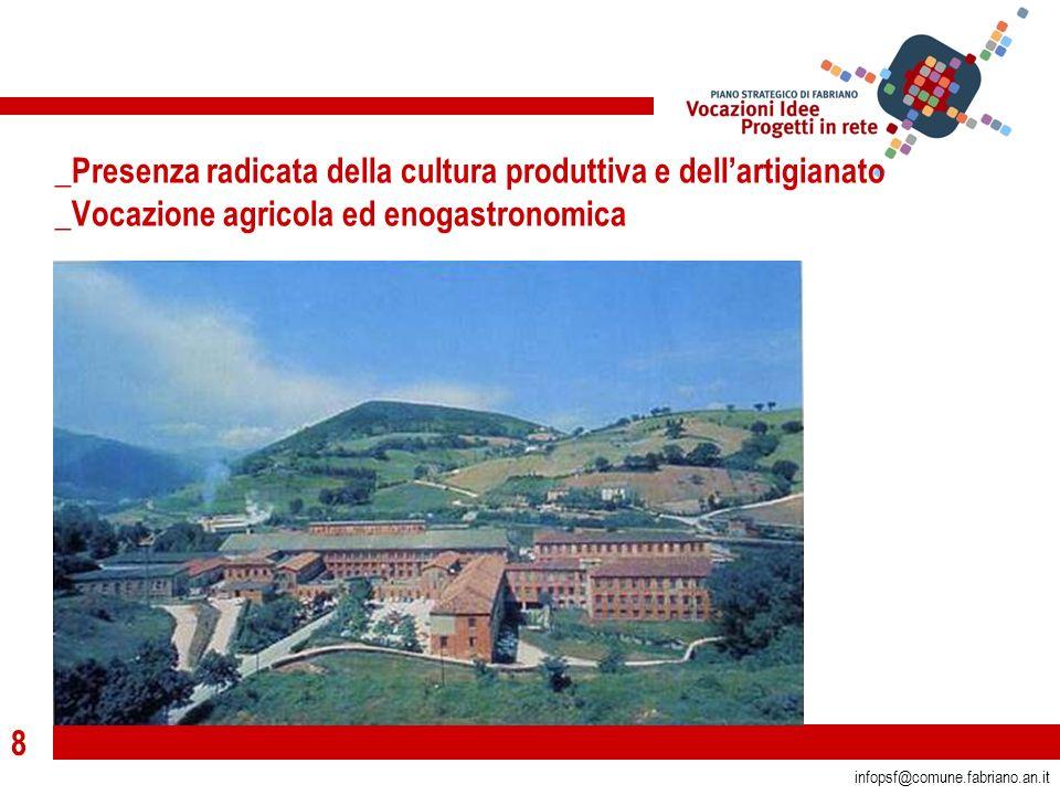 8 infopsf@comune.fabriano.an.it _Presenza radicata della cultura produttiva e dellartigianato _Vocazione agricola ed enogastronomica