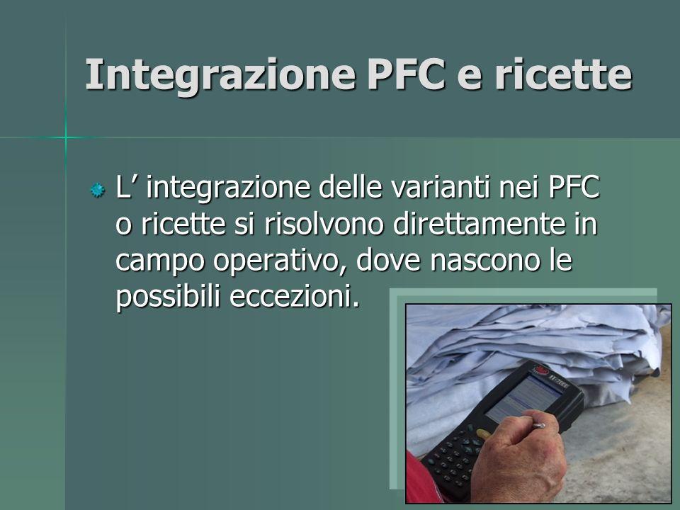 Integrazione PFC e ricette L integrazione delle varianti nei PFC o ricette si risolvono direttamente in campo operativo, dove nascono le possibili eccezioni.