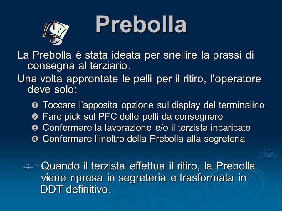 Prebolla La Prebolla è stata ideata per snellire la prassi di consegna al terziario.