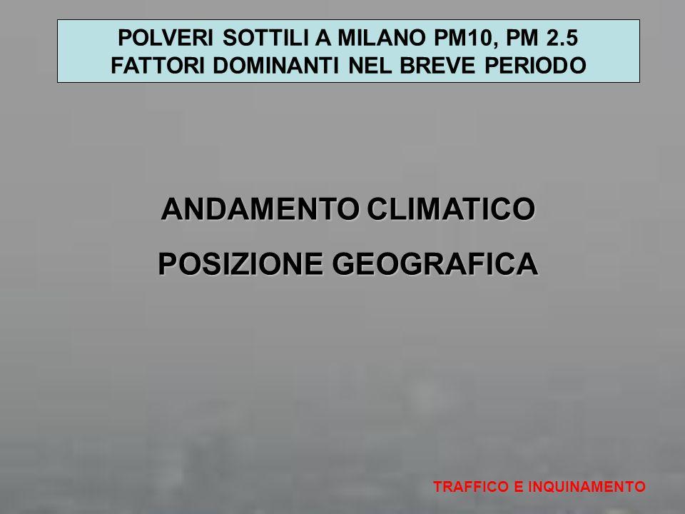 ANDAMENTO CLIMATICO POSIZIONE GEOGRAFICA TRAFFICO E INQUINAMENTO POLVERI SOTTILI A MILANO PM10, PM 2.5 FATTORI DOMINANTI NEL BREVE PERIODO