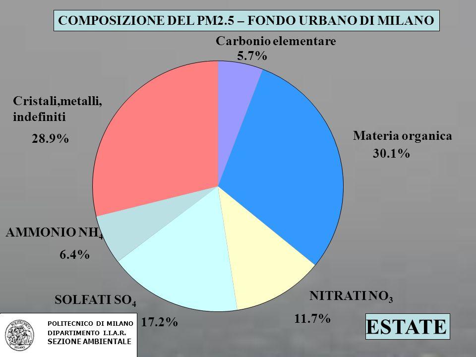 ESTATE Carbonio elementare 5.7% Materia organica 30.1% 11.7% 17.2% 6.4% Cristali,metalli, indefiniti 28.9% COMPOSIZIONE DEL PM2.5 – FONDO URBANO DI MI