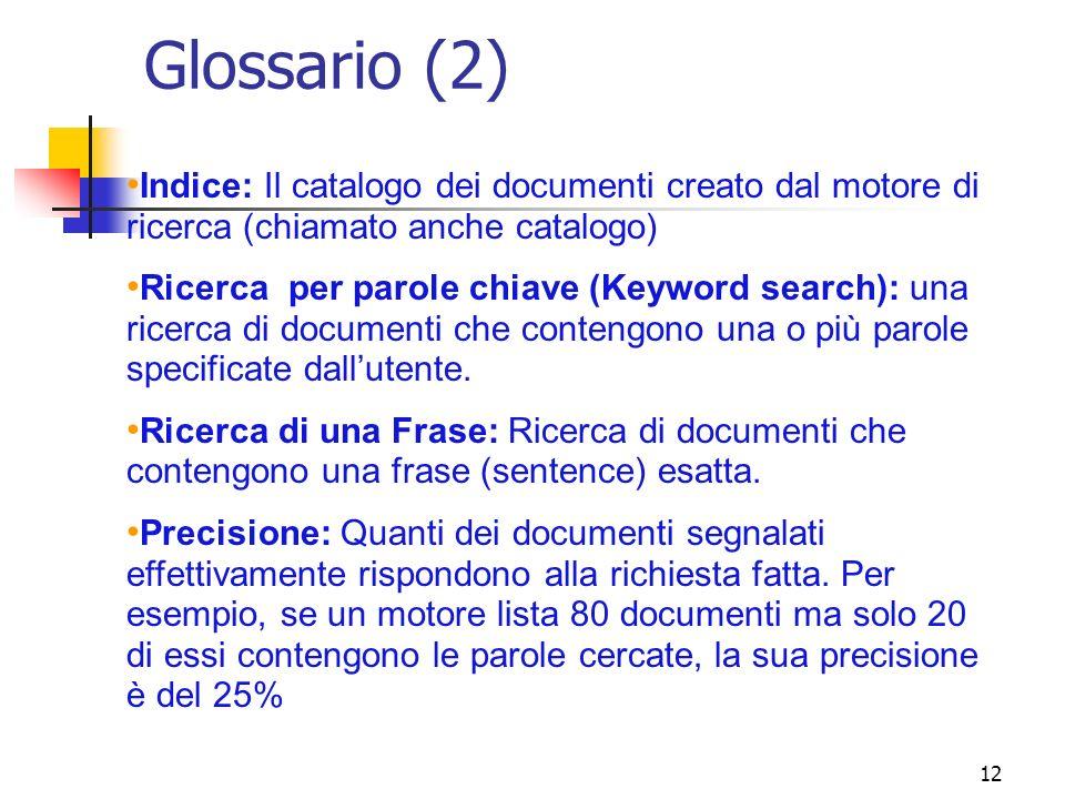 12 Glossario (2) Indice: Il catalogo dei documenti creato dal motore di ricerca (chiamato anche catalogo) Ricerca per parole chiave (Keyword search):