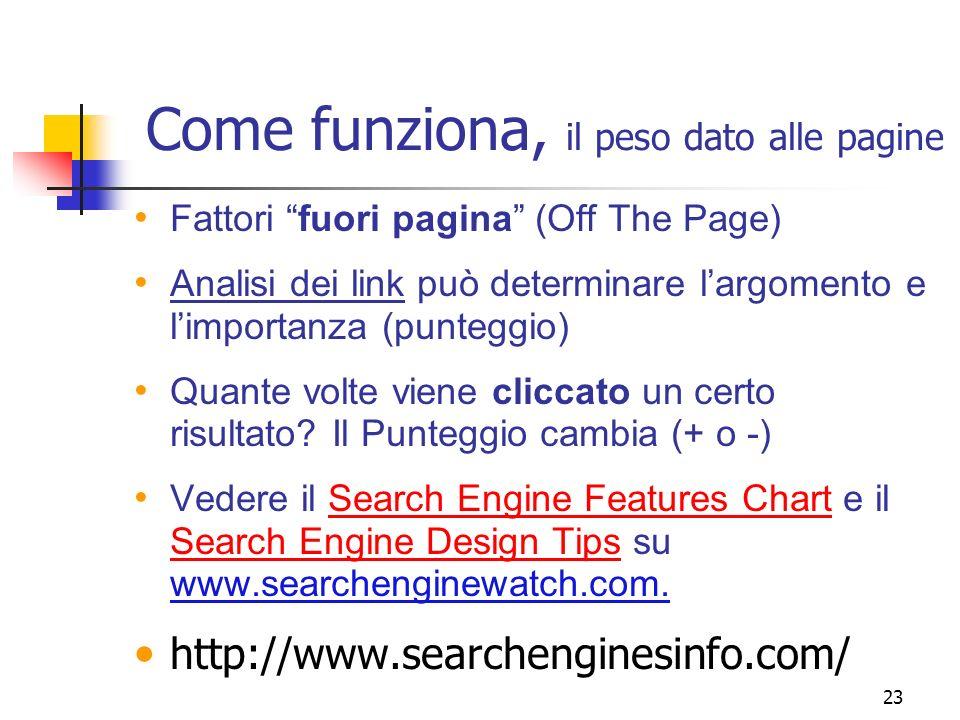 23 Come funziona, il peso dato alle pagine Fattori fuori pagina (Off The Page) Analisi dei link può determinare largomento e limportanza (punteggio) Q