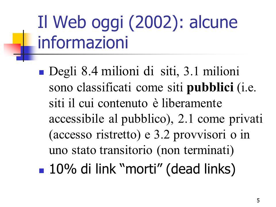 5 Il Web oggi (2002): alcune informazioni Degli 8.4 milioni di siti, 3.1 milioni sono classificati come siti pubblici (i.e. siti il cui contenuto è li