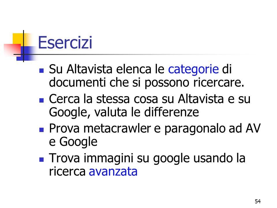 54 Esercizi Su Altavista elenca le categorie di documenti che si possono ricercare. Cerca la stessa cosa su Altavista e su Google, valuta le differenz