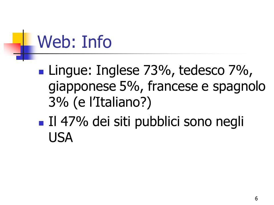 6 Web: Info Lingue: Inglese 73%, tedesco 7%, giapponese 5%, francese e spagnolo 3% (e lItaliano?) Il 47% dei siti pubblici sono negli USA