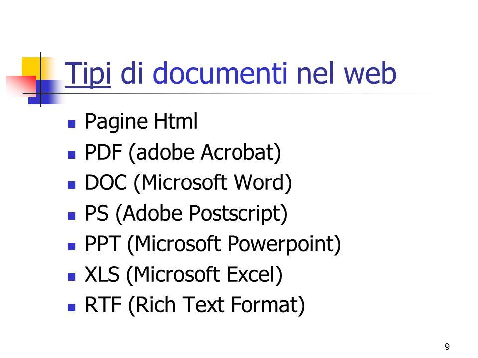 9 Tipi di documenti nel web Pagine Html PDF (adobe Acrobat) DOC (Microsoft Word) PS (Adobe Postscript) PPT (Microsoft Powerpoint) XLS (Microsoft Excel