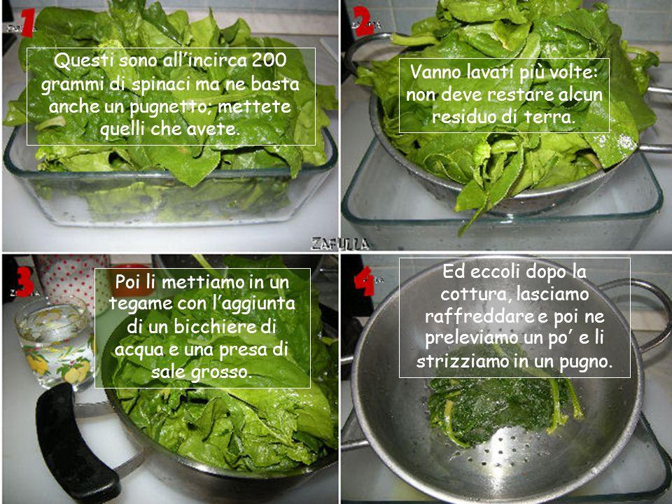 Ingredienti per il ripieno: 100 grammi di spinaci già lessati e strizzati 100 grammi di ricotta 1 uovo Parmigiano o grana padano Sale, una spolveratin
