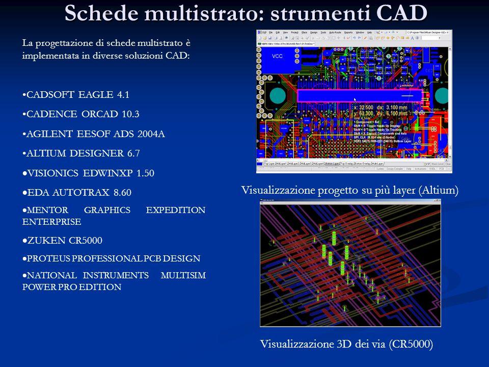 Schede multistrato: strumenti CAD La progettazione di schede multistrato è implementata in diverse soluzioni CAD: CADSOFT EAGLE 4.1 CADENCE ORCAD 10.3