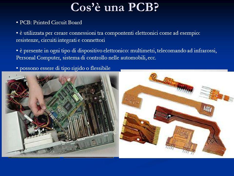 Cosè una PCB? PCB: Printed Circuit Board è utilizzata per creare connessioni tra compontenti elettronici come ad esempio: resistenze, circuiti integra