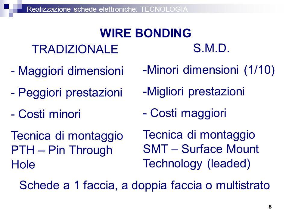 8 Realizzazione schede elettroniche: TECNOLOGIA WIRE BONDING S.M.D. -Minori dimensioni (1/10) -Migliori prestazioni - Costi maggiori Tecnica di montag