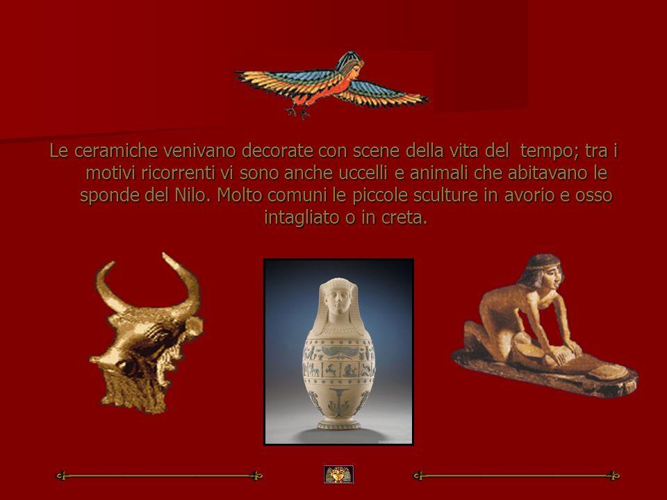 Le ceramiche venivano decorate con scene della vita del tempo; tra i motivi ricorrenti vi sono anche uccelli e animali che abitavano le sponde del Nil