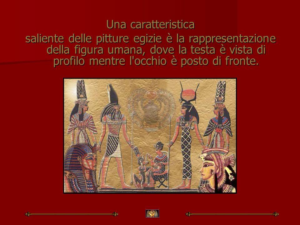 Una caratteristica saliente delle pitture egizie è la rappresentazione della figura umana, dove la testa è vista di profilo mentre l'occhio è posto di