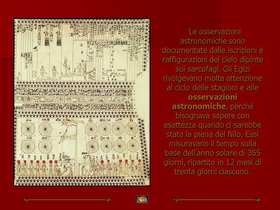 Le osservazioni astronomiche sono documentate dalle iscrizioni e raffigurazioni del cielo dipinte sui sarcofagi. Gli Egizi rivolgevano molta attenzion