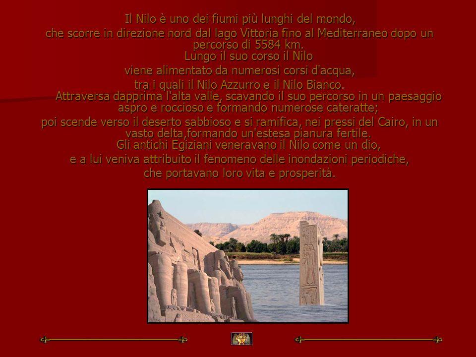 Il Nilo è uno dei fiumi più lunghi del mondo, Il Nilo è uno dei fiumi più lunghi del mondo, che scorre in direzione nord dal lago Vittoria fino al Med