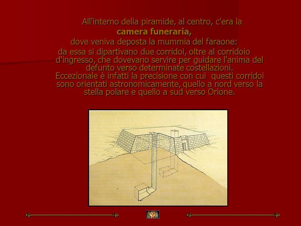 All'interno della piramide, al centro, c'era la All'interno della piramide, al centro, c'era la camera funeraria, dove veniva deposta la mummia del fa