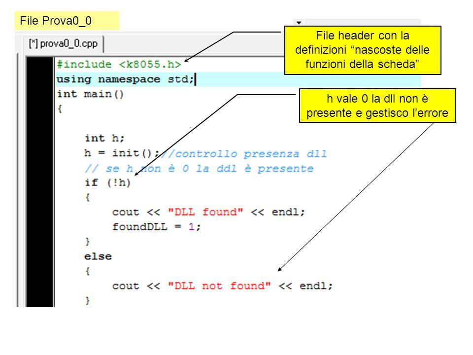 File header con la definizioni nascoste delle funzioni della scheda h vale 0 la dll non è presente e gestisco lerrore File Prova0_0