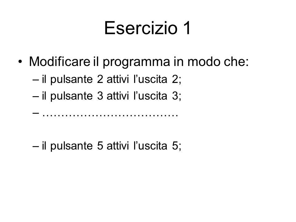 Esercizio 1 Modificare il programma in modo che: –il pulsante 2 attivi luscita 2; –il pulsante 3 attivi luscita 3; –……………………………… –il pulsante 5 attivi luscita 5;