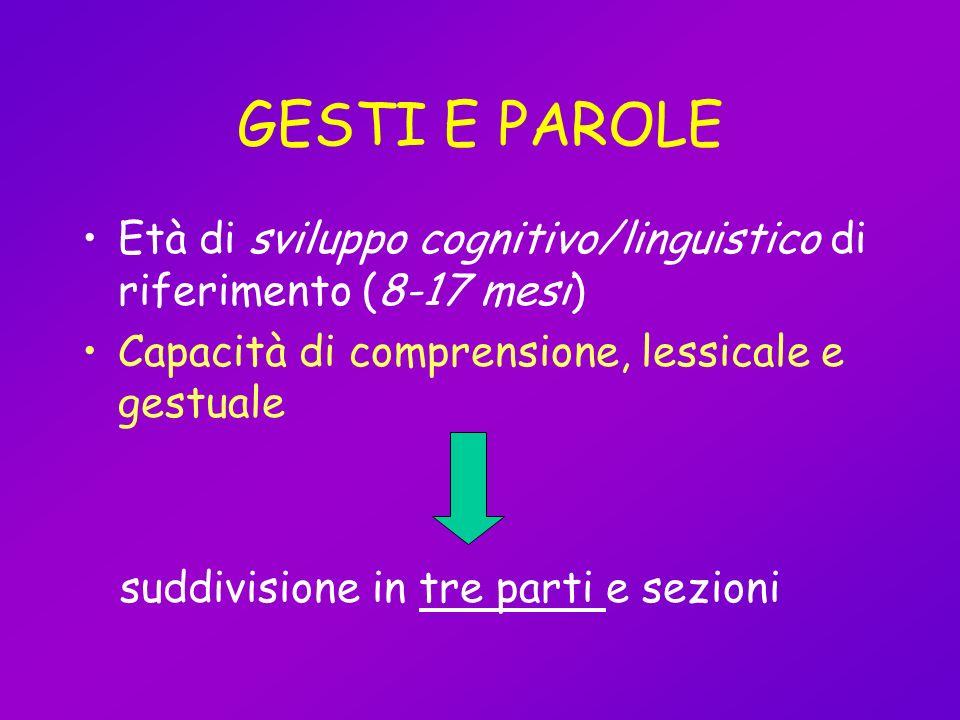 GESTI E PAROLE Età di sviluppo cognitivo/linguistico di riferimento (8-17 mesi) Capacità di comprensione, lessicale e gestuale suddivisione in tre par