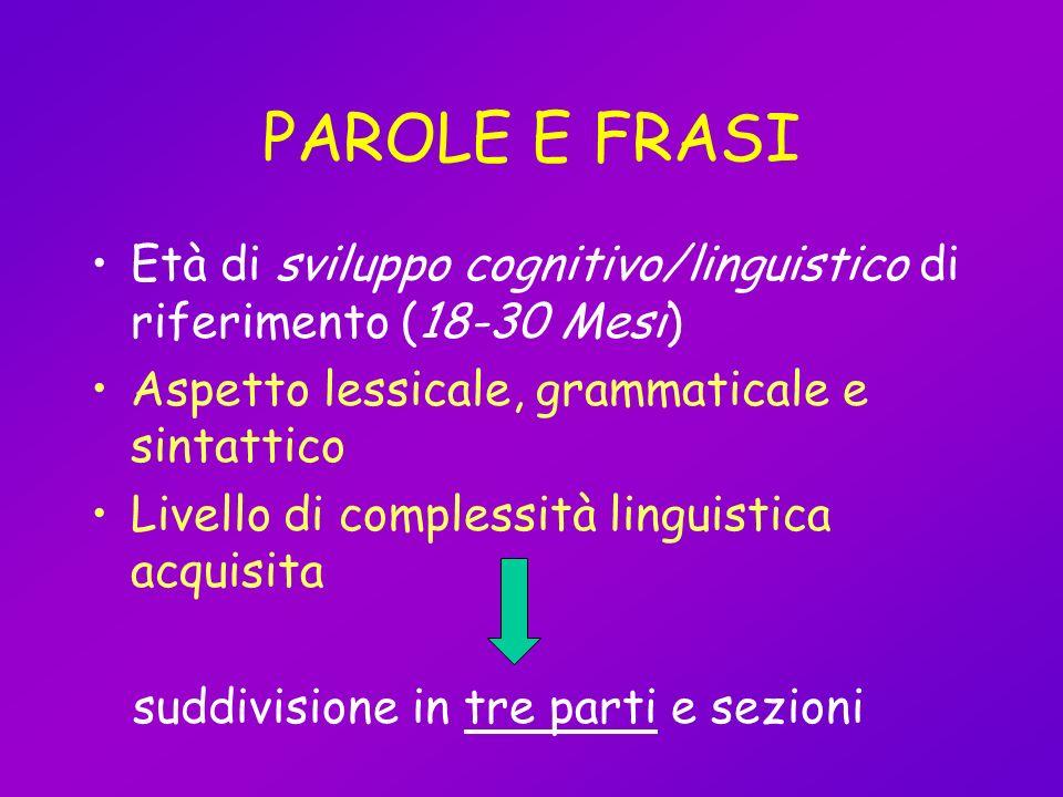 PAROLE E FRASI Età di sviluppo cognitivo/linguistico di riferimento (18-30 Mesi) Aspetto lessicale, grammaticale e sintattico Livello di complessità l