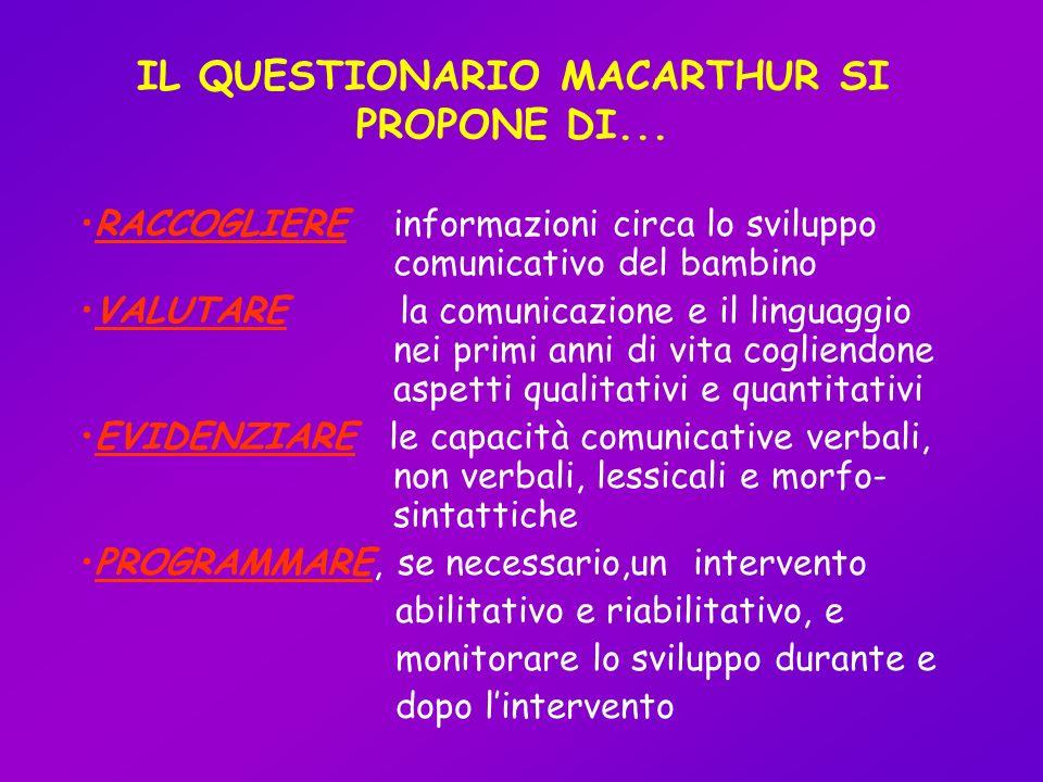 IL QUESTIONARIO MACARTHUR SI PROPONE DI... RACCOGLIERE informazioni circa lo sviluppo comunicativo del bambino VALUTARE la comunicazione e il linguagg