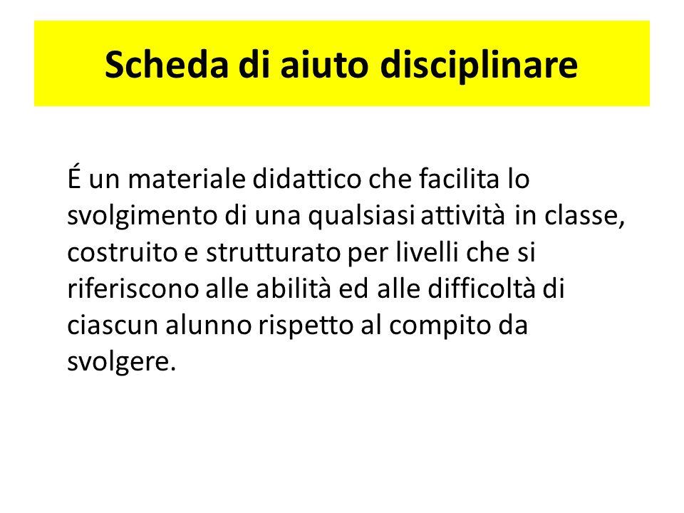 Scheda di aiuto disciplinare É un materiale didattico che facilita lo svolgimento di una qualsiasi attività in classe, costruito e strutturato per liv