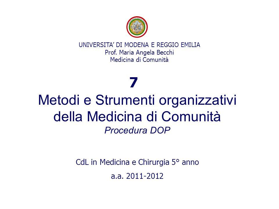 UNIVERSITA DI MODENA E REGGIO EMILIA Prof. Maria Angela Becchi Medicina di Comunità Metodi e Strumenti organizzativi della Medicina di Comunità Proced
