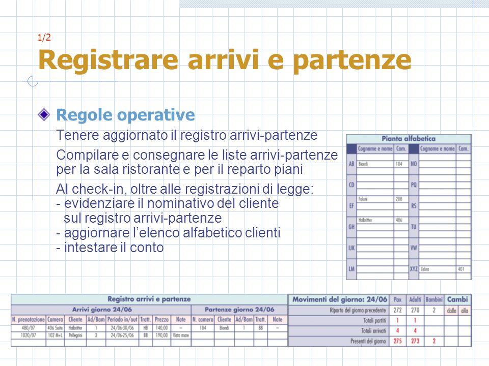 1/2 Registrare arrivi e partenze Regole operative Tenere aggiornato il registro arrivi-partenze Compilare e consegnare le liste arrivi-partenze per la